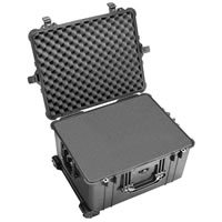 Pelican1620 Case Black w/Foam w/Retractable Handle & Wheels
