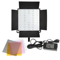 LED GoCN-600H LED Video Light 5600K with Barndoors, Diffuser, DC Adapter, 3200K and Green minus filters