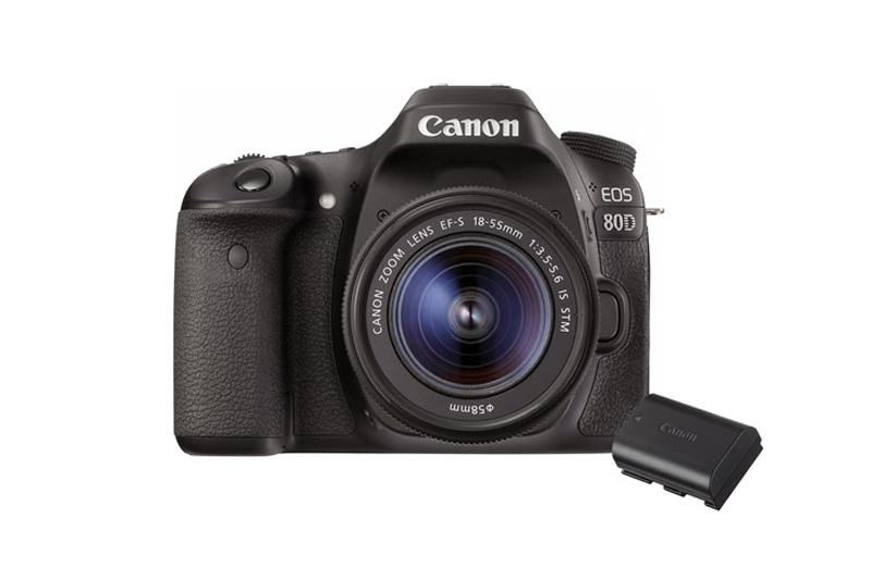 Canon EOS 80D Body with 128GB Memory Card and LP-E6N Battery Pack