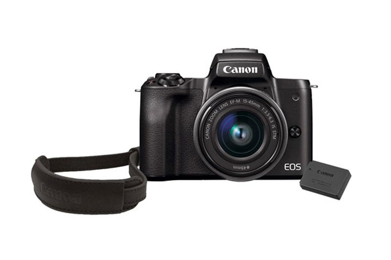 Canon EOS M50 w/ EF-M 15-45mm With 128GB Memory Card, LP-E12 Battery And Wrist Strap