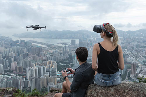 DJI Mavic 2 Pro Drone flying with Goggles RE