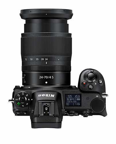 Nikon Z 7 with 24-70mm lens top down view