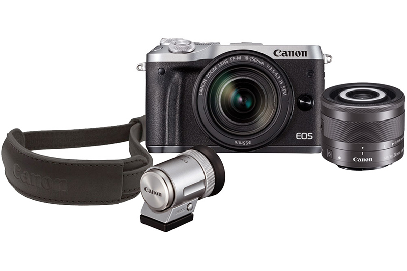 Canon EOS M6 Kit w/EF-M 18-150mm f/3.5-6.3 IS STM Silver ,EF-M 28mm f/3.5 Macro IS STM Lens, EVF And Strap