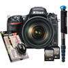 D750 Bundle w/ 32GB SDHC, Cleaning Set and WalkAbout Convertible Monopod (Blue)