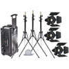 Stella 2000 3 Light Kit. Includes Barndoors, Glo Bulb Diffuser, Stands and Case
