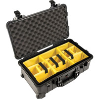 Pelican1510 Case Black w/Dividers w/Retractable Handle & Wheels