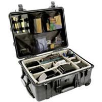 1560 Case Black w/Dividers w/Retractable Handle & Wheels