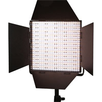 LED GoLG-600CS LED Video Light Bi-Color 45 Deg w/V Plate Barndoors, Diffuser, DC Adapter