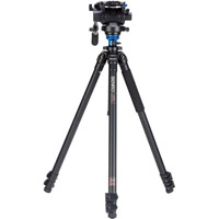 Benro A2573FS6 Video Kit Includes Aluminum Single Tube 2573F Tripod, S6 Video Head, and Case
