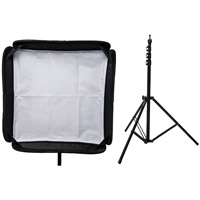 "Illumi 31"" x 31"" Speedlight Collapsible Softbox Kit -  Silver with Tilthead Bracket and Medium Light Sta"