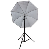 "Illumi 45"" Umbrella Kit with Small Light Stand and Ball Head Style Speedlight Umbrella Holder"