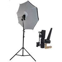 "Illumi 40"" Brolly Box - Reflective Umbrella with 7 mm Shaft with Medium Light Stand and Umbrella Holder"