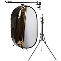 Illumi 1 m x 1.5 m 5-In-1 Reflector Kit with 1.75 m Reflector Bracket and 2.0 m Travel Light Stand