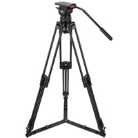 CamgearV15PCFML Video Tripod Kit With V15 Head, 3-Stage Carbon Fiber Tripod, Mid-Level Spreader, and Case