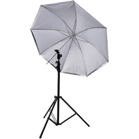 "Illumi 45"" Umbrella Kit with Medium Light Stand and Umbrella Holder with Cold Shoe with Clamp Lock"