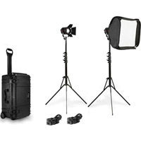 FiilexP360 2 Light Interview Kit Includes Stands, Barndoors, Softbox, and Case