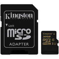 Kingston Tech32GB Micro SDHC UHS-I U1 Class 10 Card w/ Adapter, 90MB/s read and 45MB/s write