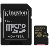 Kingston Tech64GB Micro SDXC UHS-I U1 Class 10 Card w/ Adapter, 90MB/s read and 45MB/s write