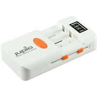 Jupio Universal PowerVault Lithium-Ion and Ni-MH AA/AAA Battery Charger - Dual Voltage with Travel Plugs