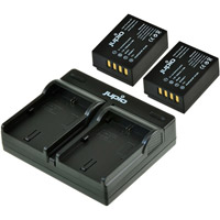 Jupio Kit: Dual USB Battery Charger and 2 x NP-W126S Batteries - 1260 mAh