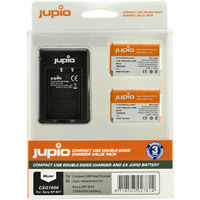 Jupio Kit: USB Dual Battery Charger and 2 x NP-BX1 Batteries - 1260 mAh