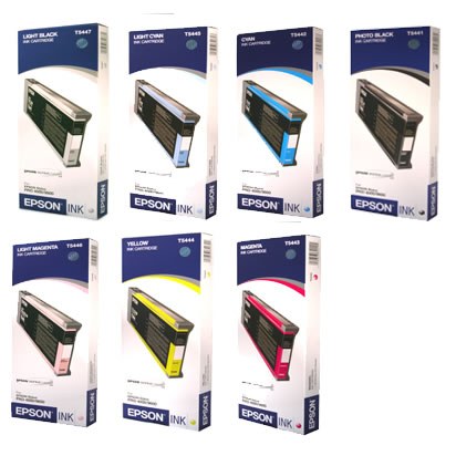 Stylus 7600/9600 Ink Set w/7 Cartridges w Photo Black 220ml