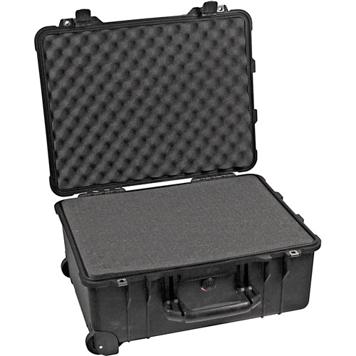 1560 Case Black w/Foam w/Retractable Handle & Wheels