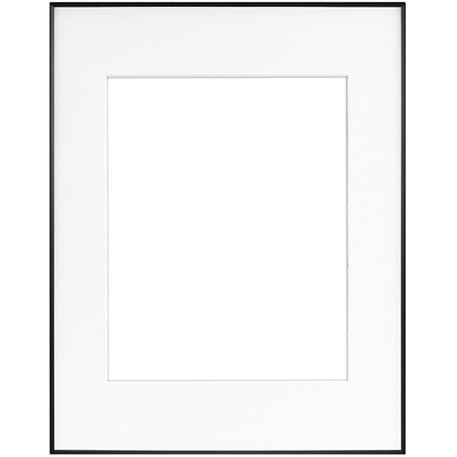 "11"" x 14"" Fineline Black Aluminum Frame with 8"" x 10"" Single Mat Opening # 27"