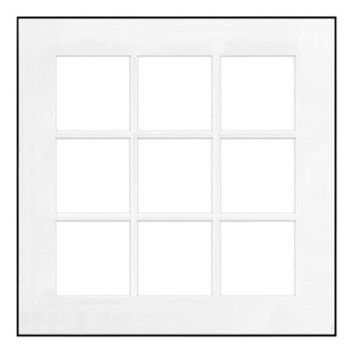 "20"" x 20"" Fineline Black Aluminum Frame with 9 - 5"" x 5"" Single Mat Openings # 83"