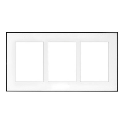 """9.5"""" x 18"""" Fineline Silver Aluminum Frame with 3 - 5"""" x 7"""" Single Mat Openings # 80"""