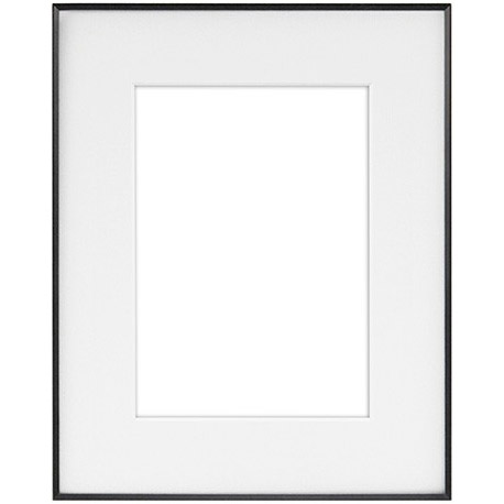 "8"" x 10"" Fineline Black Aluminum Frame with 5"" x 7"" Single Mat Opening # 14"