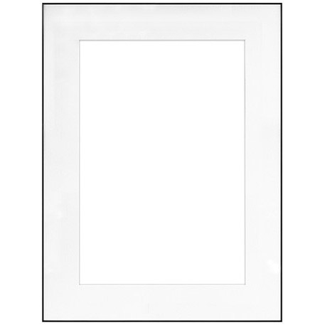 "18"" x 24"" Fineline Black Aluminum Frame with 13"" x 19"" Single Mat Opening # 63"
