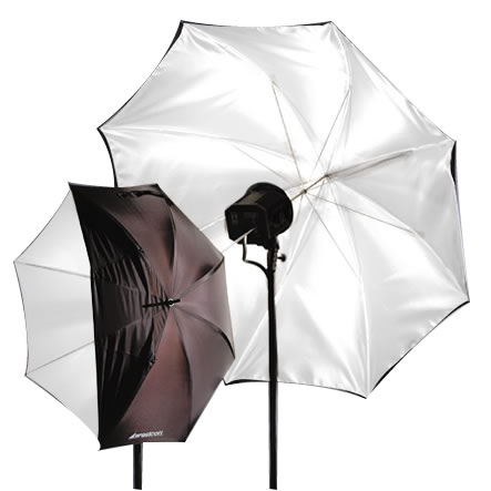 "43"" Optical Wht Satin umbrella Collapsible w/ Removable Black Cover"