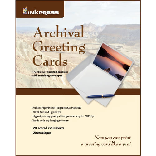 """7""""x10"""" / 5""""x7"""" Duo Matte 20 Archival Greeting / Scored Cards with Envelopes"""