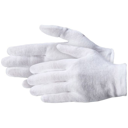 "100% Cotton Gloves Medium Weight 3.5oz Mens L 9 9 1/2-10"" 12 Pairs per package"