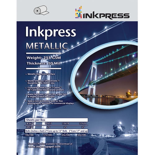 "13 x 19"" Metallic Paper Gloss 255gsm 10mil 25 Sheets"