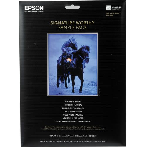 "8.5""x11 Signature Worthy Sample Pack 2 Sheets of 7 Different Papers"
