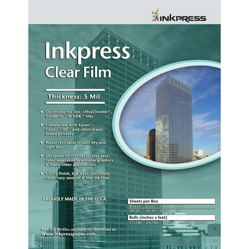 "13"" x 19"" Clear Film 5mil 20 Sheets"