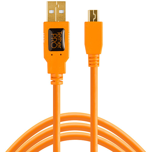 USB 2.0 to Mini B Cable, 15 ft 5 pin, Hi-Visibilit y Orange