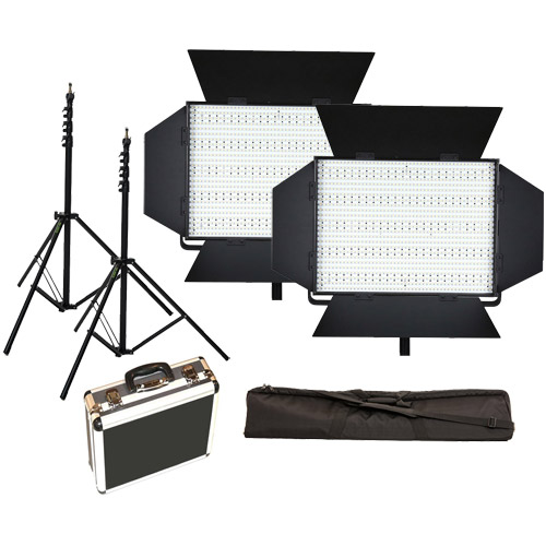 LED Go 2 X LG-1200S LED Lights 5600K with 2x  Mantis Light Stands, Stand Bag and Hard Case