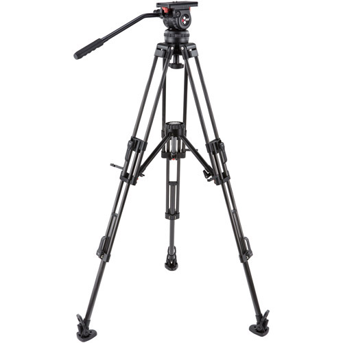 V10ALML Video Tripod Kit With V10 Head, T100 Aluminum Tripod with Mid-Level Spreader, and Case