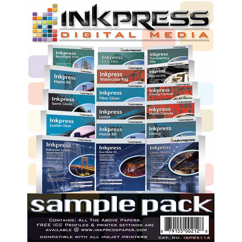 """8.5""""x11"""" Sample Pack - over 17 sheets of most Inkpress materials"""