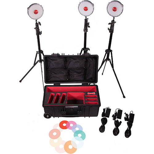Rotolight NEO II 3 LED Light Kit with Hard Roller Case, 3 x Light Stands, 3 x Pro Ball Heads