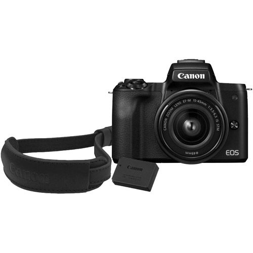 EOS M50 w/ EF-M 15-45mm With LP-E12 Battery and Wrist Strap