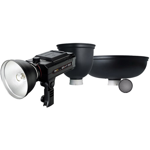 BRiHT-360 TTL Lithium-Ion Self Contained Flash With Honeycomb Grid, Tele Reflector & Beauty Dish
