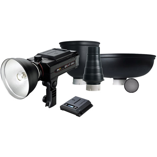 BRiHT-360 TTL With Honeycomb Grid,Tele Reflector, Beauty Dish,Lithium-Ion Battery&Snoot