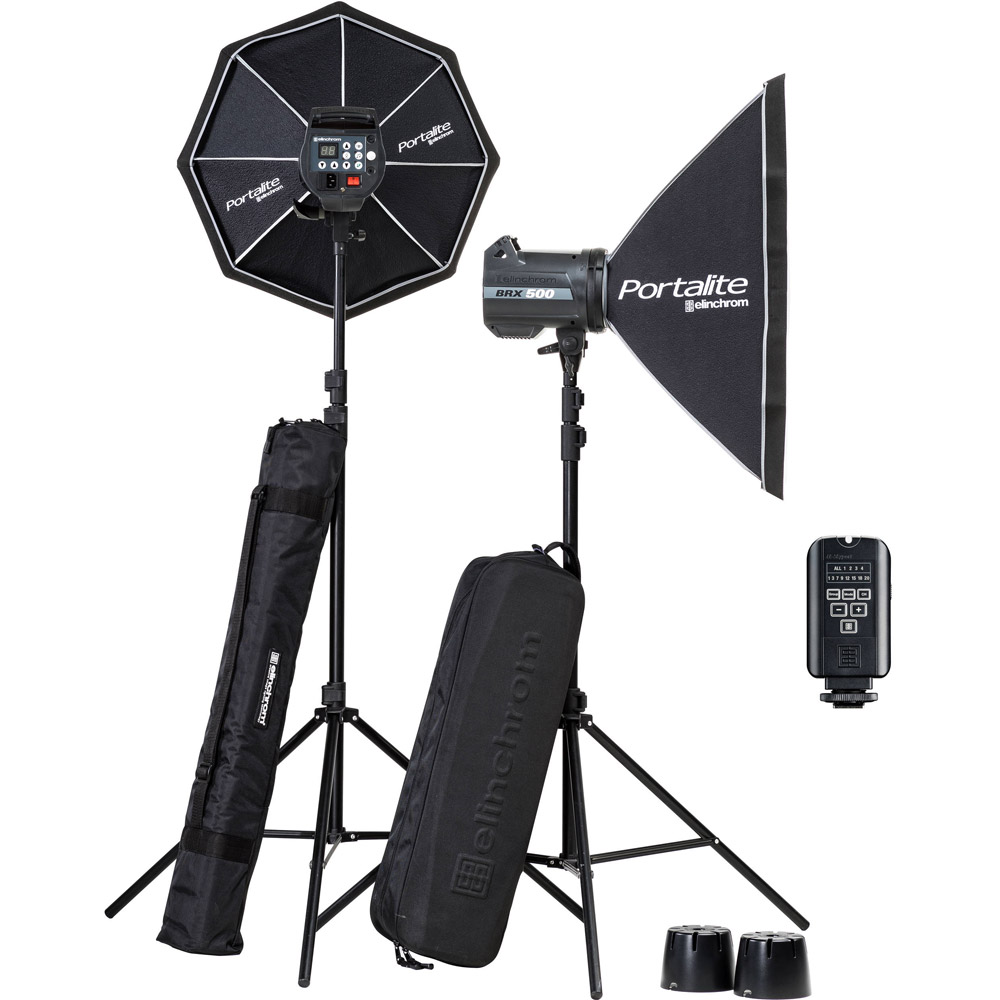 Elinchrom BRX 500/500 Softbox To Go Set  with EL-Skyport Transmitter Plus, 2x Stands and Stand Bag