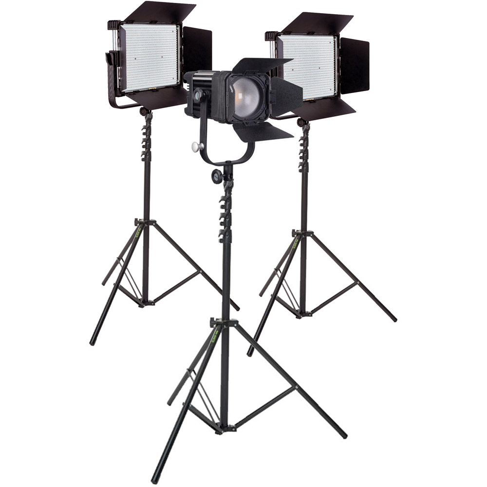 LED Go LG-1200MCSII & LG-D1200MC Bicolour LED Panels and Fresnel 3 Light Kit with Stands