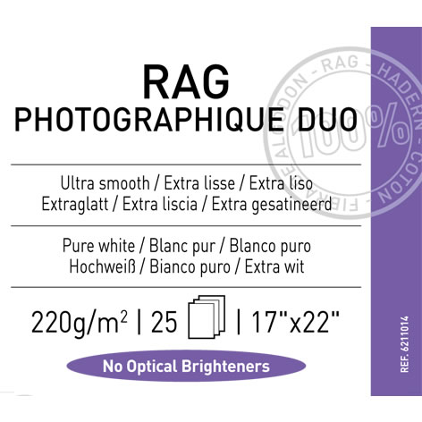 """17"""" x 22"""" Infinity Rag Photographique Duo Matte - 220 gsm - 25 Sheets"""
