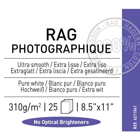 "8.5"" x 11"" Infinity Rag Photographique Matte - 310 gsm - 25 Sheets"
